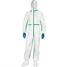 Tute da lavoro DELTA PLUS Deltatek® 5000 c/cappuccio elasticizzata monouso - chiusura con zip bianco