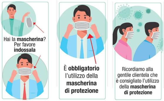 Cartelli per l'uso obbligatorio della mascherina di protezione